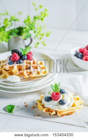 Sweet Waffels With Berry Fruits And Whipped Cream