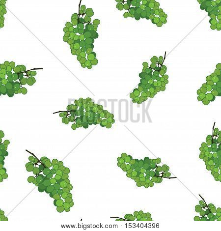 Green grape seamless vector pattern background. Grape wine pattern. Flat grape wine illustration on white background.