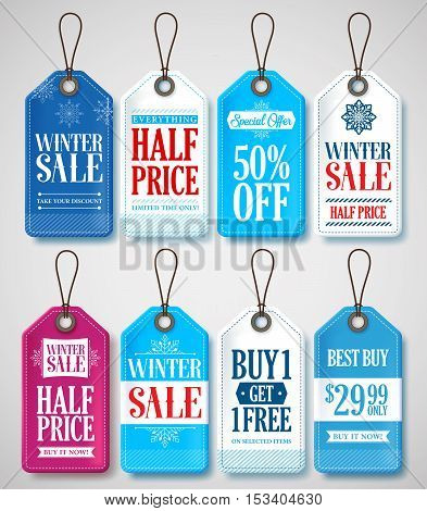 Winter Sale Tags Set for Season Store Promotions with Labels Hanging in Background with Blue and White Colors. Vector Illustration.