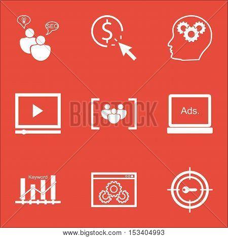 Set Of Marketing Icons On Digital Media, Website Performance And Brain Process Topics. Editable Vect