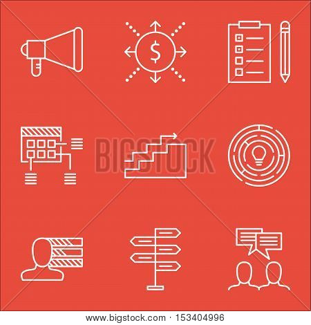 Set Of Project Management Icons On Reminder, Discussion And Money Topics. Editable Vector Illustrati