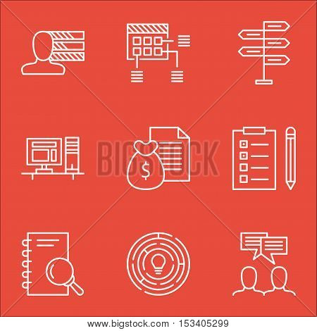 Set Of Project Management Icons On Analysis, Schedule And Reminder Topics. Editable Vector Illustrat