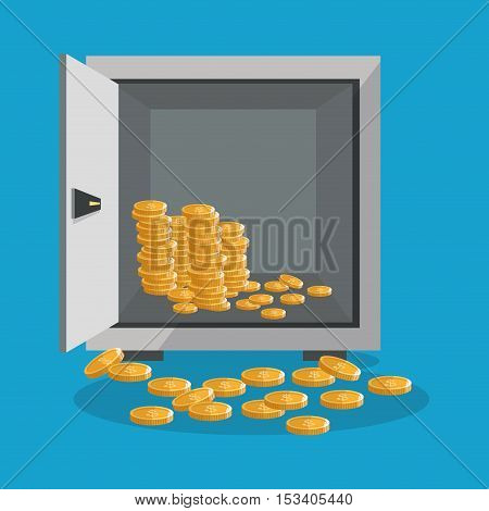 Coins and strongbox icon. Profit business and financial theme. Colorful design. Vector illustration