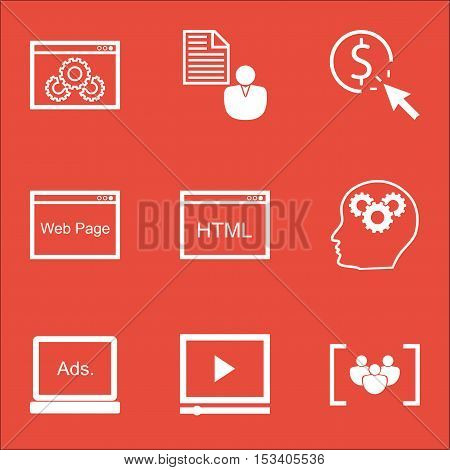 Set Of Seo Icons On Video Player, Website And Brain Process Topics. Editable Vector Illustration. In