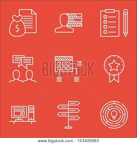 Set Of Project Management Icons On Reminder, Present Badge And Innovation Topics. Editable Vector Il