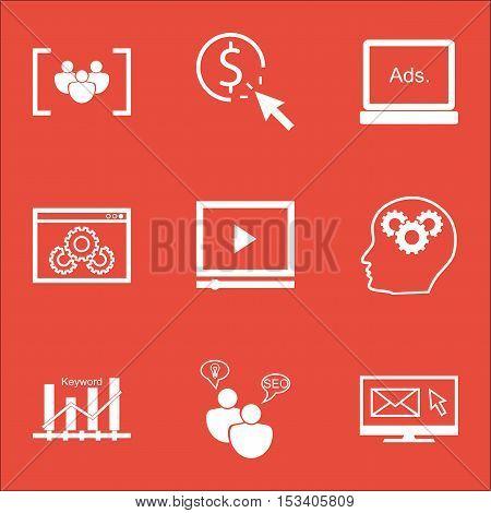 Set Of Seo Icons On Digital Media, Video Player And Website Performance Topics. Editable Vector Illu