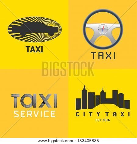 Taxi, cab set of vector logo, icon, background. Car hire black and yellow badge, app, emblem. Steering wheel with sign taxi design element