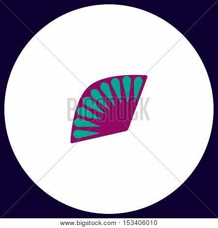 Folding fan Simple vector button. Illustration symbol. Color flat icon