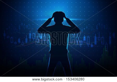 Silhouette of stressed investor on concept background about stock chart. Man touches his head.