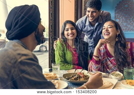 Indian Ethnicity Meal Food Roti Naan Curry Concept
