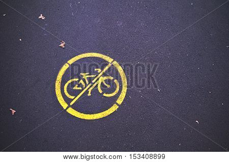prohibition sign for cycling. the ban cycling on the park road. riding bike is not allowed. bicycles are banned. empty space for your text