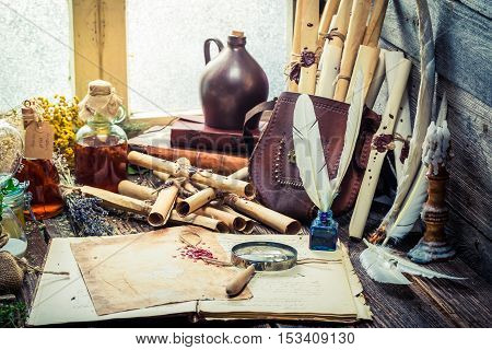 Old Witcher Labolatory With Scrolls And Ingredients