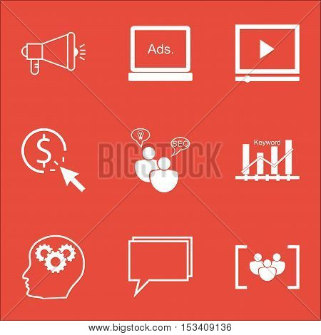 Set Of Seo Icons On Questionnaire, Seo Brainstorm And Conference Topics. Editable Vector Illustratio