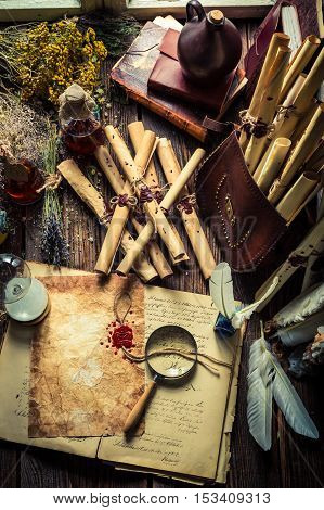 Scribe And Witcher Workshop With Scrolls And Ingredients