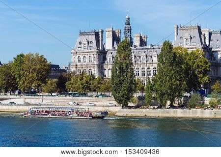 Old Classic Palace On Bank Of River Seine In Paris