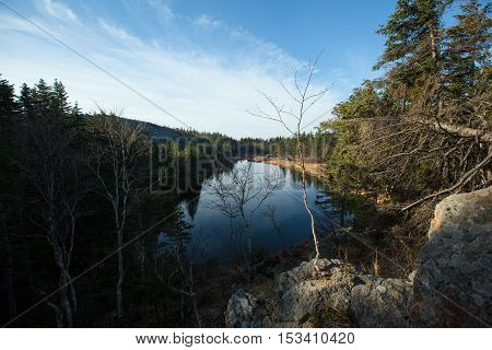 Olhovaya mountain, lake, trees Russia Primorye in Spring