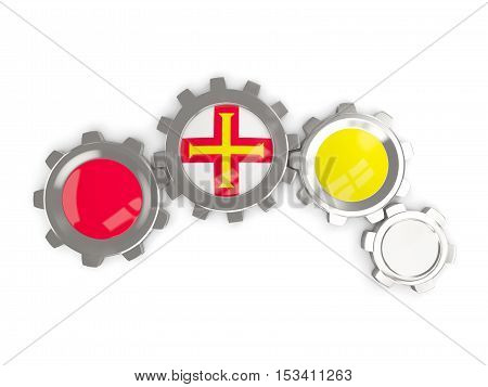 Flag Of Guernsey, Metallic Gears With Colors Of The Flag