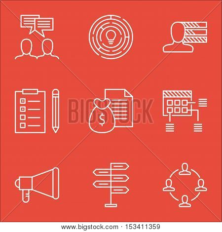 Set Of Project Management Icons On Collaboration, Announcement And Personal Skills Topics. Editable