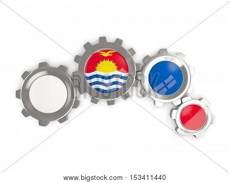 Flag Of Kiribati, Metallic Gears With Colors Of The Flag