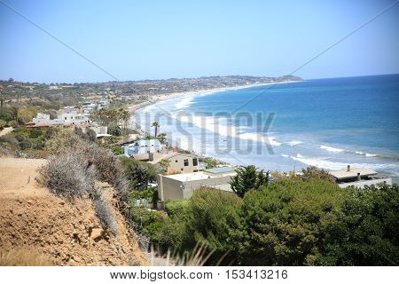 The ocean coast with the focus on Malibu homes in California