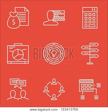 Set Of Project Management Icons On Discussion, Collaboration And Report Topics. Editable Vector Illu