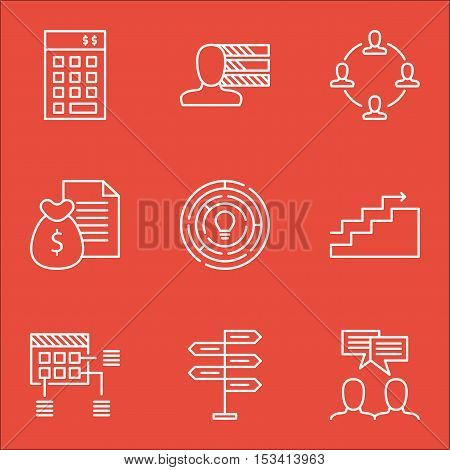 Set Of Project Management Icons On Discussion, Innovation And Personal Skills Topics. Editable Vecto