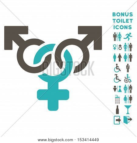 Polyandry icon and bonus man and woman WC symbols. Vector illustration style is flat iconic bicolor symbols, grey and cyan colors, white background.