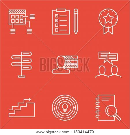 Set Of Project Management Icons On Present Badge, Discussion And Analysis Topics. Editable Vector Il