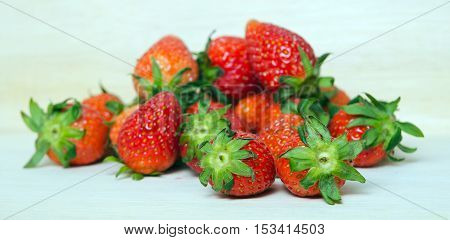 Strawberry Fruit With Flash Filled On Wooden Board (other Names Are Fragaria Strawberry, Fragaria An