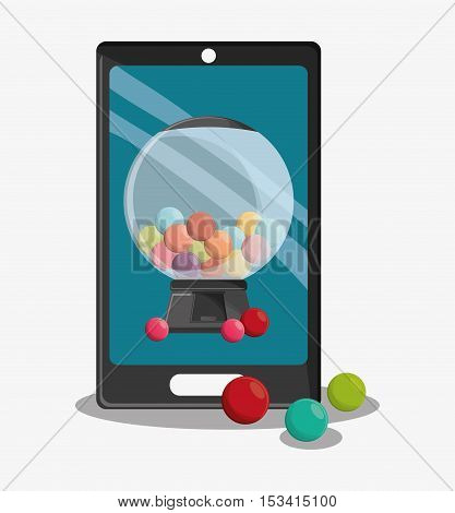 Candy and smartphone icon. Fast carnival food and menu theme. Colorful design. Vector illustratio