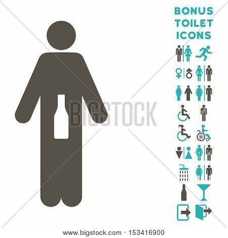 WC Man icon and bonus gentleman and lady WC symbols. Vector illustration style is flat iconic bicolor symbols, grey and cyan colors, white background.