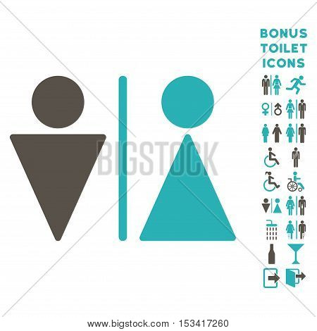 WC Persons icon and bonus male and lady WC symbols. Vector illustration style is flat iconic bicolor symbols, grey and cyan colors, white background.
