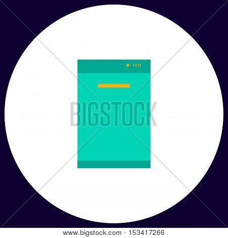 dishwasher Simple vector button. Illustration symbol. Color flat icon