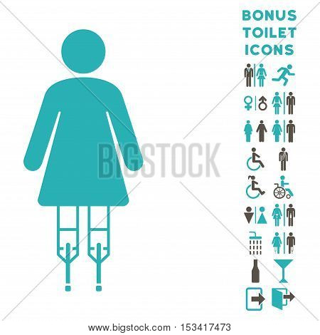 Woman Crutches icon and bonus male and woman toilet symbols. Vector illustration style is flat iconic bicolor symbols, grey and cyan colors, white background.