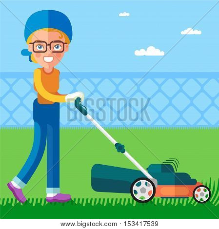 The Garden. Girl using a lawn mower mows the lawn. In the flat style. This is a cartoon character.