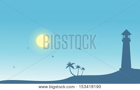 Silhouette of lighthouse and palm scenery vector illustration