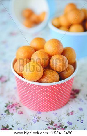 Thai Dessert Sweet Potato Balls Fried Potato Ball on Colorful Background