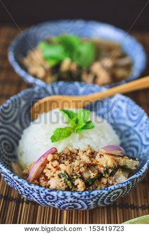 Lab Moo, Thai Spicy Minced Pork on Wood Background Thai Food on Wood Background Thai Spicy Food on Wood Background Thai Cuisine on Wood Background