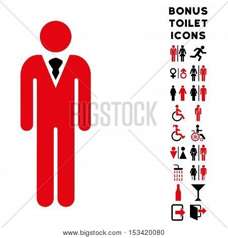Gentleman icon and bonus gentleman and lady toilet symbols. Vector illustration style is flat iconic bicolor symbols, intensive red and black colors, white background.