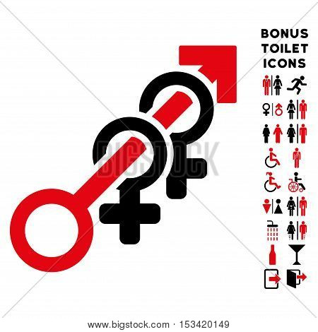 Harem icon and bonus male and female lavatory symbols. Vector illustration style is flat iconic bicolor symbols, intensive red and black colors, white background.