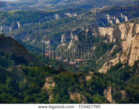 View of Melnik Bulgaria with limestone hills surrounding it