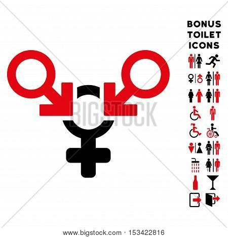 Polyandry icon and bonus gentleman and woman restroom symbols. Vector illustration style is flat iconic bicolor symbols, intensive red and black colors, white background.