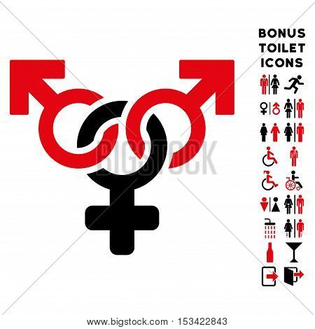 Polyandry icon and bonus gentleman and female restroom symbols. Vector illustration style is flat iconic bicolor symbols, intensive red and black colors, white background.
