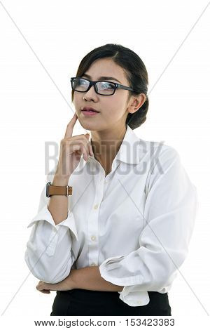 Thinking Woman With Many Ideas In Isolated White Background