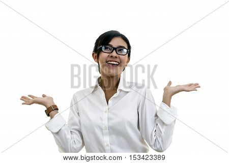 Happy Girl Laughing Against Isolated White Background. Concept Of Joy