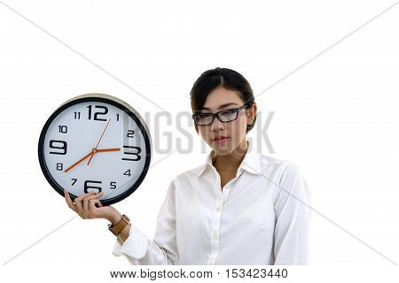 Asian Beautiful Young Girl Holding Clock, Isolated On White