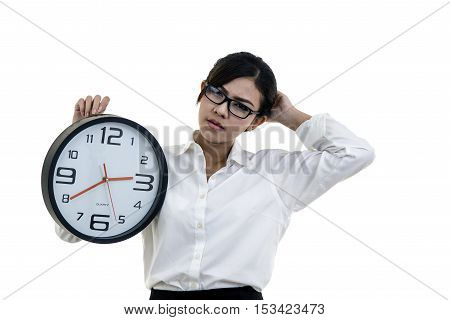 Sad Girl With A Big Clock In Hands