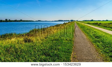 Straight bicycle path over the dike along the the bird sanctuary of Veluwemeer surrounded by reed and meadows under blue sky near the town of Nijkerk in the Netherlands