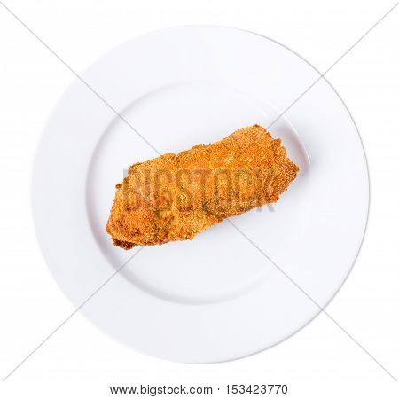 Delicious kiev chicken cutlet in ukrainian style. Isolated on a white background.