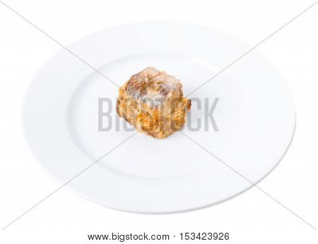 Battered hake fish. Isolated on a white background.